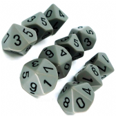 Grey & Black Opaque D10 Ten Sided Dice Set